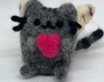 465f98004 Handmade Needle Felted Valentine Wool Pusheen!!