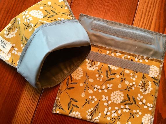 Blue Flowers Reusable Sandwich Bag Washable Snack Bag Eco Friendly Zero Waste Washable Vintage Floral Reusable Snack Bag Snaps