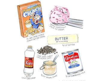 Custom Recipe Painting, Kitchen Gift, Watercolor Food Illustration, Wedding Dessert Menu, Restaurant Artwork, Chef Gift, HAND-PAINTED Art