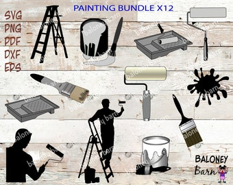 Painting Clipart, Paint SVG, Painting Silhouette, Paint Tray, Paint Brush, Painting Ladder, Paint Roller, Paint Can, Instant Download