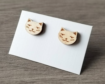 Hardwood Maple Cat Earrings, Cat Jewelry, Laser Cut Earrings