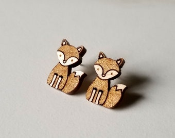 Hardwood Maple Fox Earrings, Fox Jewelry, Laser Cut Earrings