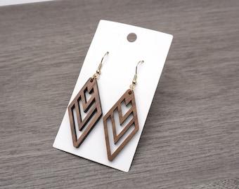 Diamond geometric Earrings, Walnut Wood Jewelry, Wooden Earrings