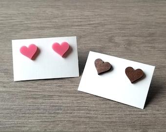 Acrylic Heart Earrings, Hardwood Walnut Heart Earrings, Heart Jewelry, Laser Cut Earrings