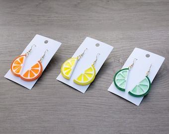 Lemon and Lime Earrings, Orange Earrings, Citrus Jewelry, Laser Cut Acrylic Earrings