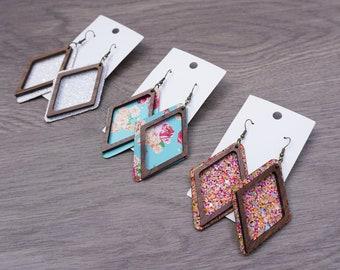 Hollow Diamond Earrings, Fabric Jewelry, Laser Cut Wood Earrings