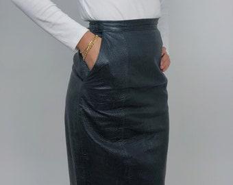 80s Vintage Together Black Leather Pencil Skirt with Belt Size 16