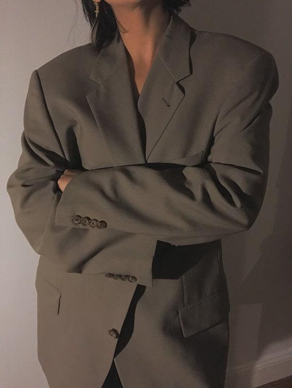 Vintage Oversized Olive Green Boyfriend Blazer | … - image 3