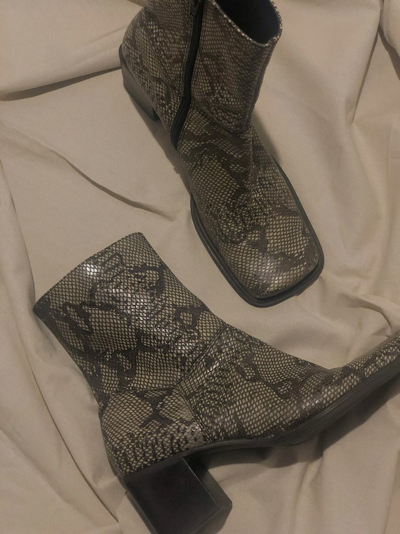 Vintage 1990s Square Toe Low Heel Snake Print Boot