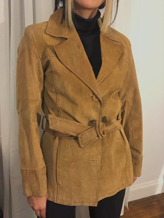 1990s Vintage Tan Leather Suede Blazer with wait t