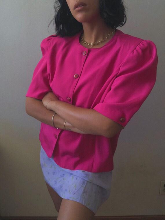 Vintage 1980s Hot Pink Short Sleeve Blazer