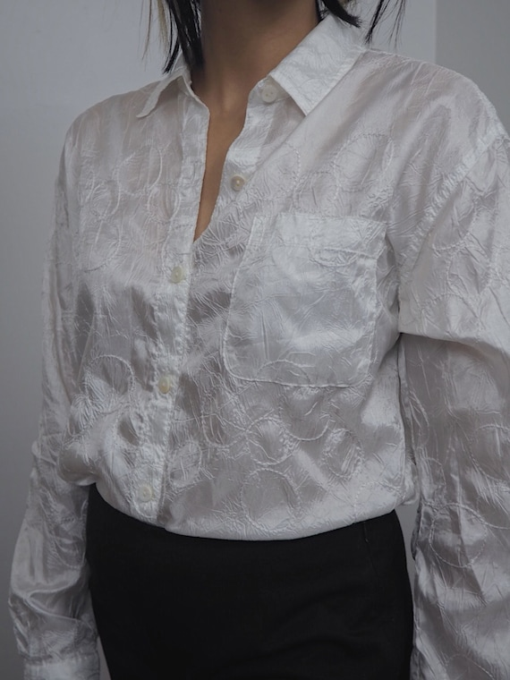 Vintage 90s Shear White Blouse With Embroidered Ci