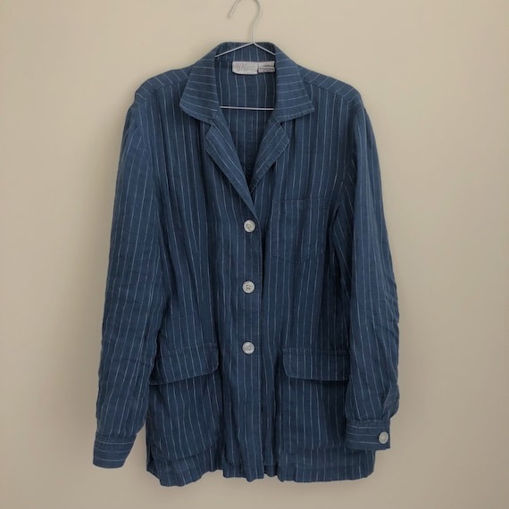 Vintage 90's Striped Oversized Linen Blazer