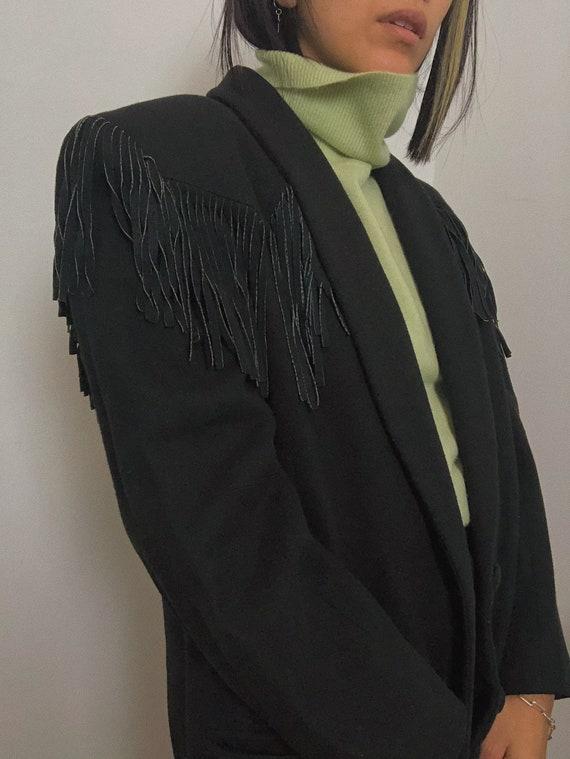 Vintage 1980s Wool Fringe Blazer | 100% Leather Su