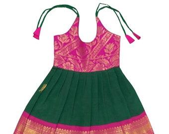d4291c8f4f3a1 Pattu Pavadai Pure Silk Kids Frock (Pink and Green; 6 Months)