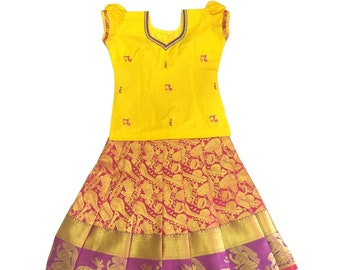 f3a6f0cfdc3a Pattu Pavadai Baby Girl / Kids Embroidery Pure Silk Pavada (Yellow & Pink;  9 Years)
