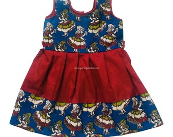 6409367f52ab Pattu Pavadai New Born Babies Kalamkari Raw Silk Frock (Blue & Maroon; 3  Months to 2 Years)