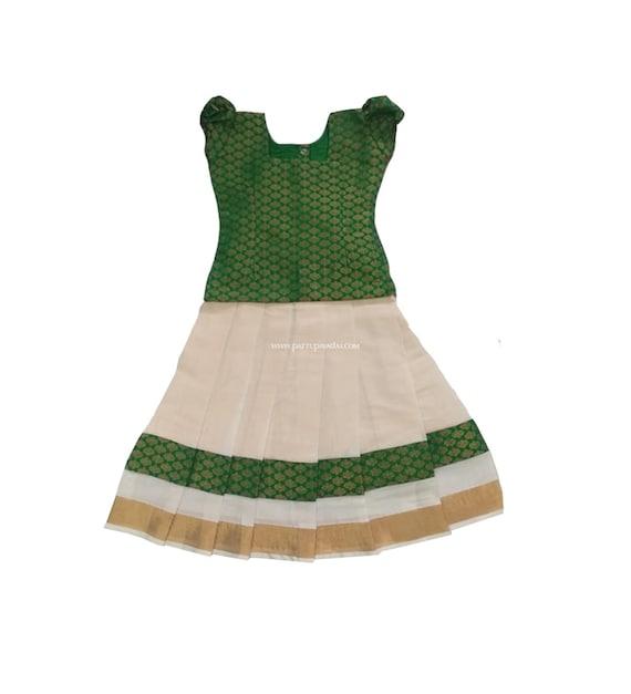 eb4e0276f Pattu Pavadai Baby Girls/Kids Kerala Pavada Set Green & | Etsy