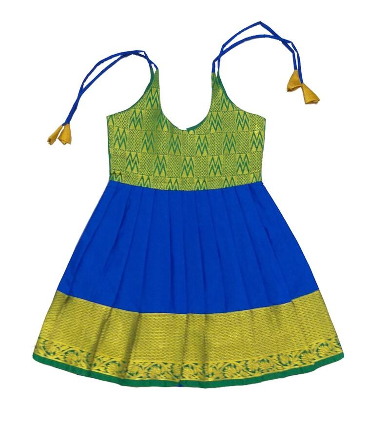 4f77d1e9cd Pattu Pavadai New Born Babies Pure Silk Frock Blue & Green 1 | Etsy