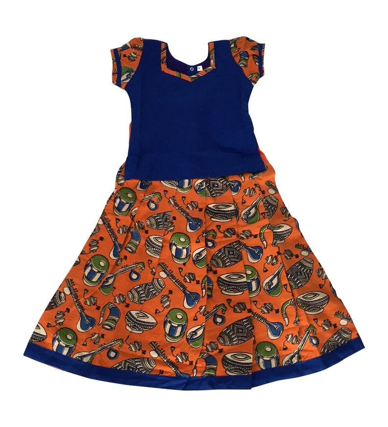 3e1494c3bad3 Pattu Pavadai Baby Girls / Kids Kalamkari Cotton Pavadai   Etsy