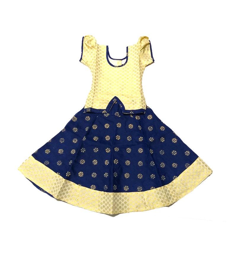 fa307cab2864c Pattu Pavadai Navy Blue and Cream Fancy Langa for Indian Baby