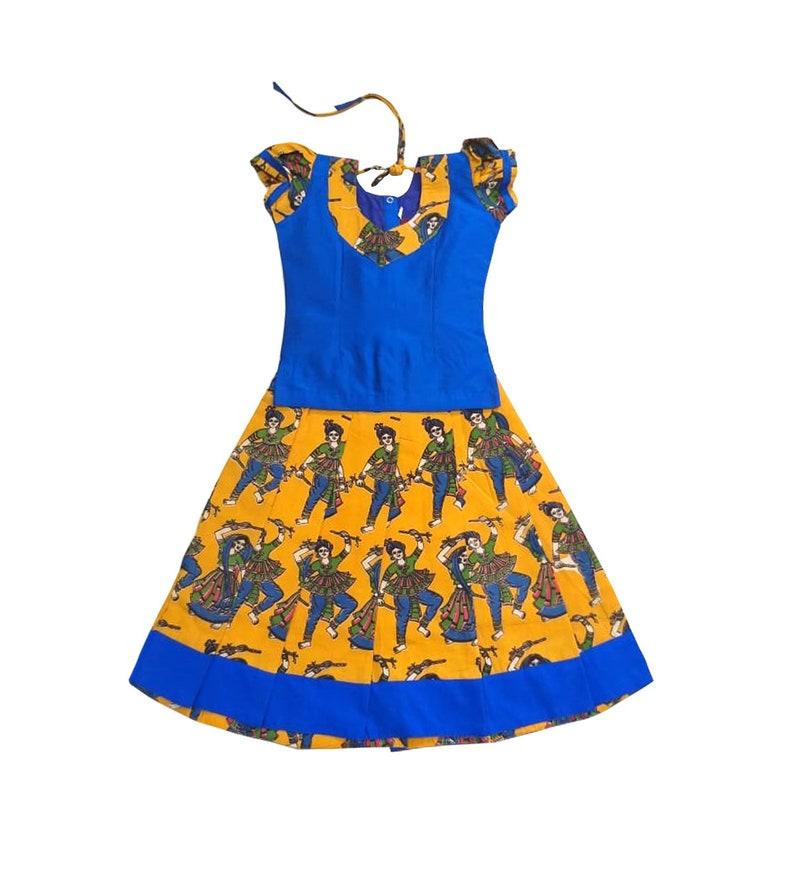 1f5d5b94e075 Pattu Pavadai Baby Girls / Kids Kalamkari Raw Silk Mustard   Etsy