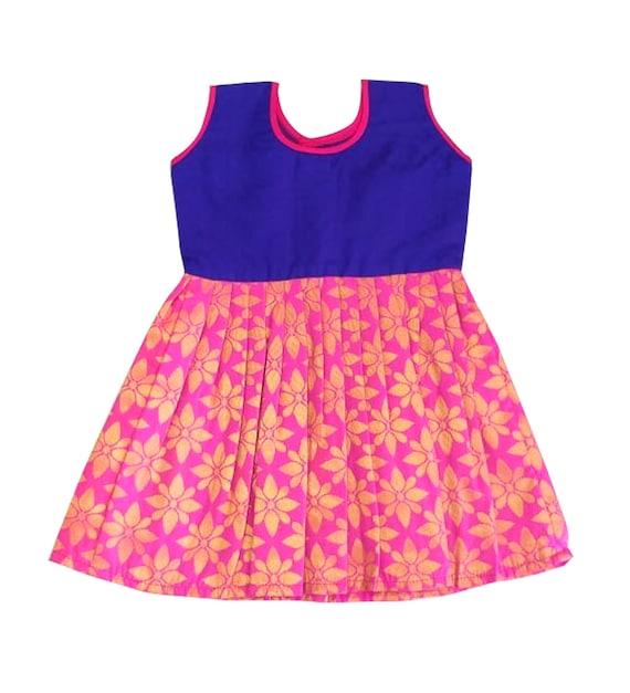 09c8cbffe Pattu Pavadai Baby Girls   Kids Pure Silk Frock Pink and
