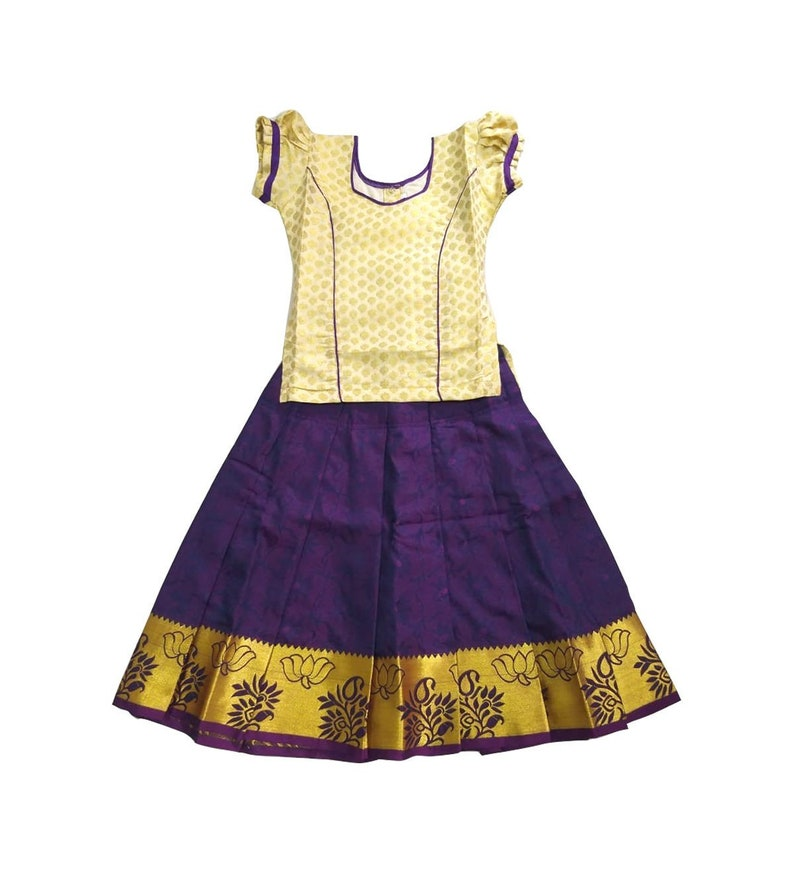 4b5da0a86 Pattu Pavadai Baby Girls   Kids Soft Silk Set Cream and