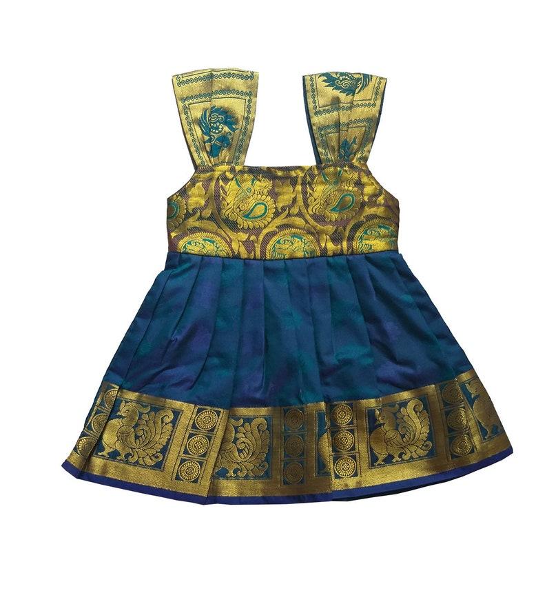 c594cfa7f0 Pattu Pavadai New Born Baby Girls Pure Silk Frock Peacock | Etsy