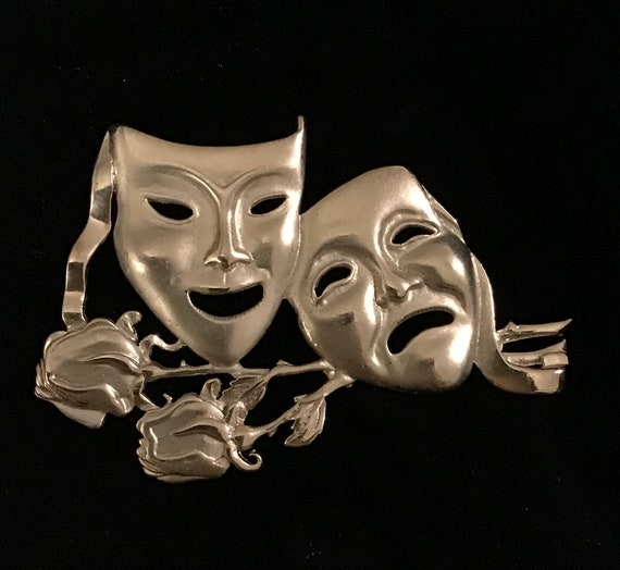 Comedy Tragedy Masks Gold Plated Pewter Motif on Round Chrome Mint  Pill Box Drama Teacher Performing Arts or Theater Gift