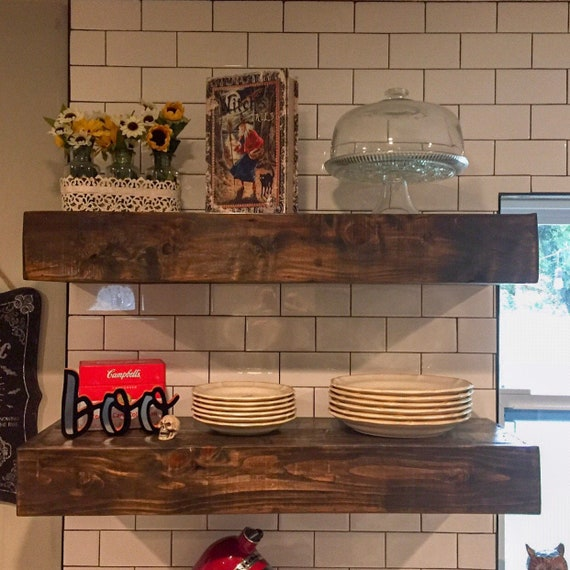 Pair Of Rustic Farmhouse Kitchen Floating Shelves Reclaimed Wood Floating Shelves Open Shelving Craft Room Storage Nursery Office