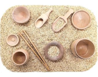 Montessori Toys, Sensory Bin Tools Kit, Transfer Work, Fine Motor, Wooden Scoops, Tongs - Toddler Sensory Kit Montessori and Waldorf Toy