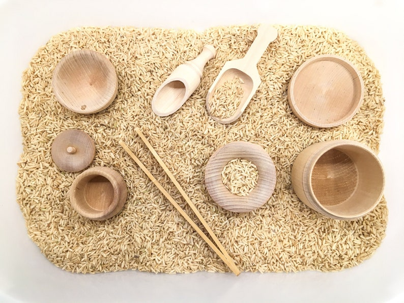 Montessori Toys Sensory Bin Tools Kit Transfer Work Fine. An excellent minimalist toddler toy.