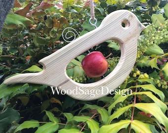 Wooden Bird Feeder, Apple Feeder, Garden Gift, Seed, Birds, Wildlife, Outdoors