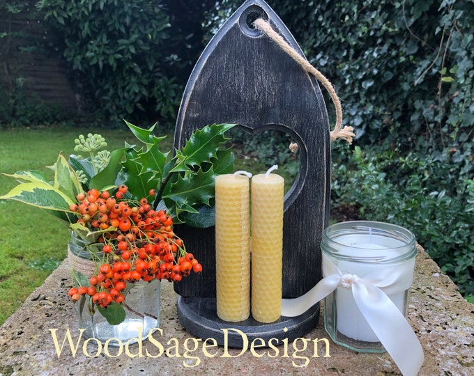 Featured listing image: Black Wooden Gothic Candle Holder, Handmade