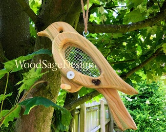 Natural Wood Bird Seed Feeder, Bird Feeders, Garden Gift, Outdoors, Feeders