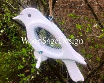White Dove Bird Wooden Feeder for Outdoors