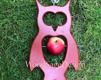 Red Wooden Apple Bird Feeder, Outdoors, Bird Feeders, Garden Gift