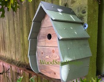 Sage Green Wooden Bird House, Bird Box, Birdhouse Outdoors