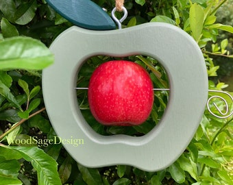 Green Wooden Apple Feeder, Wild Bird Feeder, Outdoors, Garden