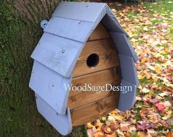 Wooden Bird House, Blue, Outdoors, Garden Gift, Bird Houses, Handmade, Oak