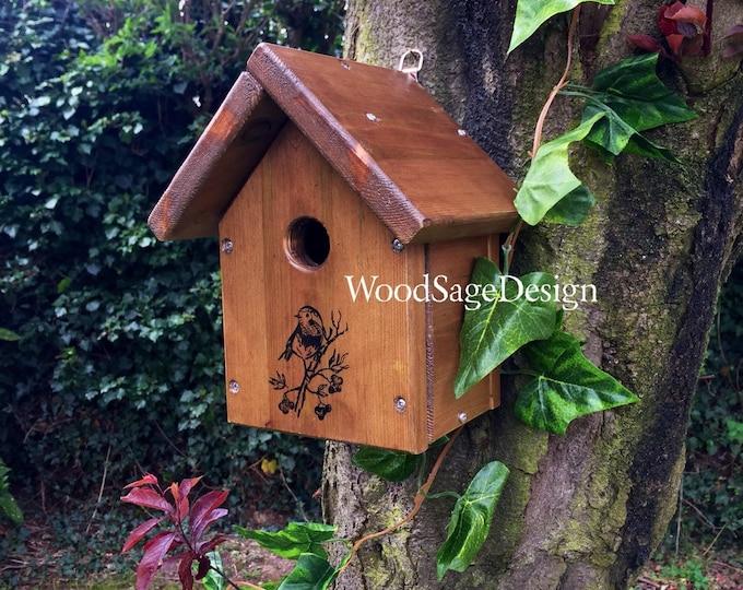 Featured listing image: Outdoor Bird House, Wooden Birdhouse, Garden