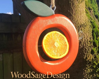Orange Wooden Bird Feeder, Apple Bird Feeder, Birds, Seed, Ecofriendly, Garden
