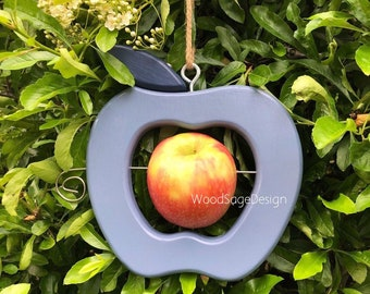 Blue Apple Feeder, Wooden, Bird, Feeder, Apple, Outdoor, Garden