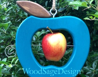 Peacock Blue Wooden Apple Feeder, Bird Feeder, Outdoors, Garden, Gift, Birdfeeder
