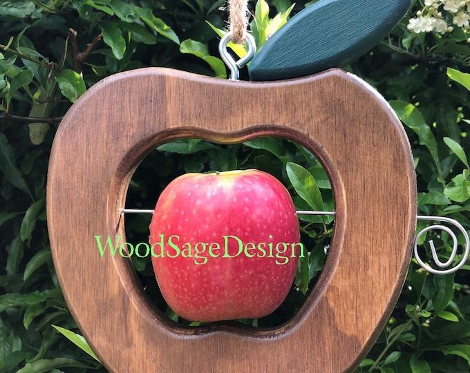 Featured listing image: Wooden Apple Feeder, Birdfeeder Outdoors, Garden Gift, Birds, Feeders, Red Apple