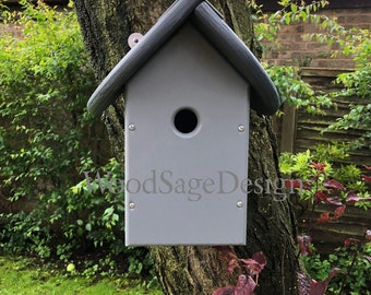 Grey Wooden Bird House for Outdoors