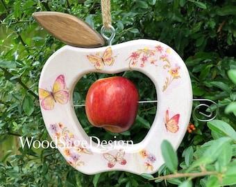 Wooden Apple Feeder, Bird Feeder, Decoupage, Outdoors, Birdfeeders, Garden, Shabby Chic, Gift
