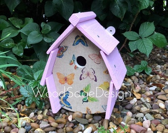 Butterfly Birdhouse, Bird House, Pastel, Birdhouses and Feeders, Garden Gifts, Christmas Gift Ideas, Outdoor Birdhouse