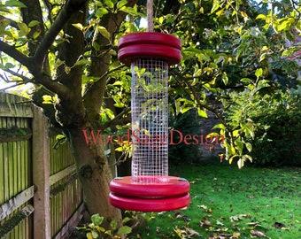 Red Wooden Bird Feeder, Bird Feeders, Wood, Outdoors, Garden Gift, Handmade